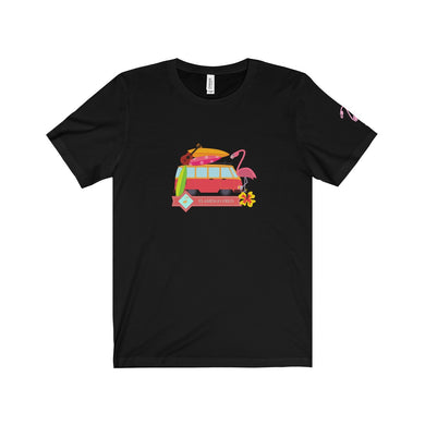 Flamingo Fred Camping Trip Unisex Jersey Tee - Discount Home & Office