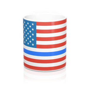 Thin Blue Line & Old Glory 11oz Mug - Discount Home & Office