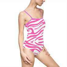 Pink Zebra Stripes Women's One-piece Hollow-out Back Swimsuit - Discount Home & Office