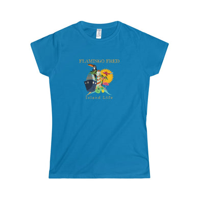 Flamingo Fred Island Life Cruise Unisex Women's Softstyle Tee - Discount Home & Office