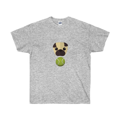 Tennis Ball Pug Face Unisex Ultra Cotton Tee - Discount Home & Office
