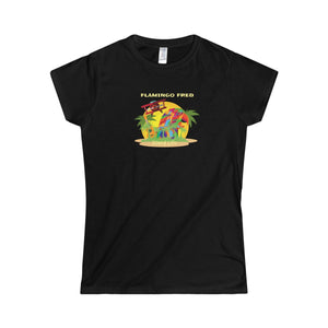Flamingo Fred Island Life Technicolor Parrot Unisex Women's Softstyle Tee - Discount Home & Office