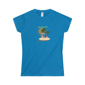 Flamingo Fred Island Life Secluded Beach Women's Softstyle Tee - Discount Home & Office