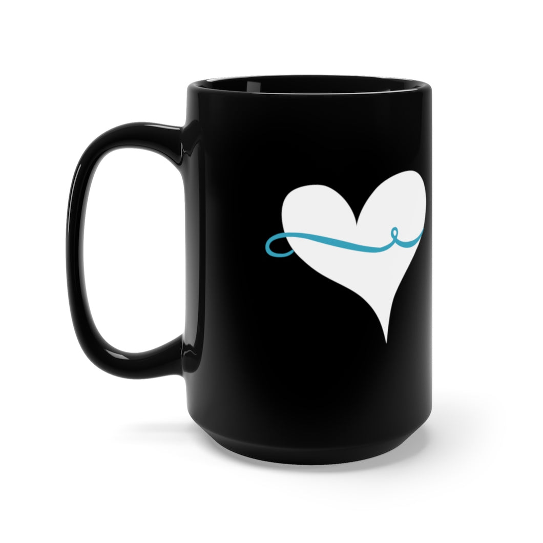 Thin Blue Line Around My Heart Black Mug 15oz - Discount Home & Office