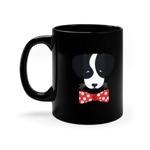 Puppy Face Polka Dot Bow Tie Black Mug 11oz - Discount Home & Office