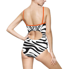 Zebra Stripe Women's One-piece Hollow-out Back Swimsuit - Discount Home & Office