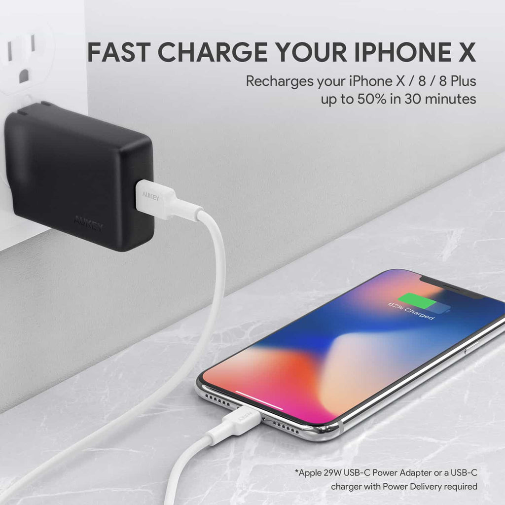 Aukey USB C lightning fast charge iphone X