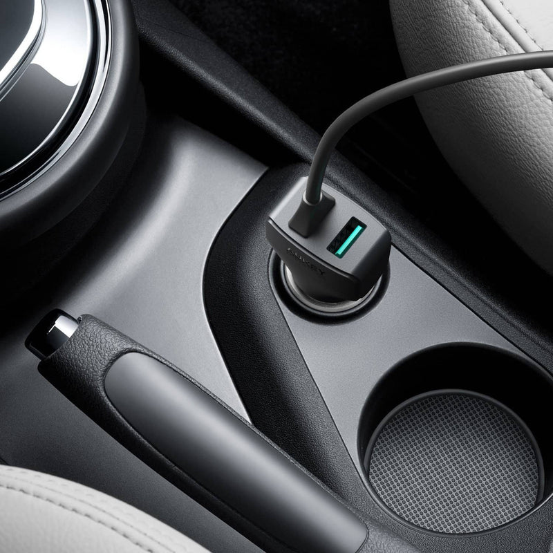 AUKEY CC-Y4 27W 5.4A AiPOWER USB-C Car Charger With TYPE-C Cable - Aukey Malaysia Official Store