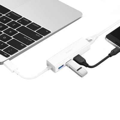 AUKEY CB-C17 USB C To 3 Ports USB 3.0 Hub With Gigabit Ethernet Adapter - Aukey Malaysia Official Store