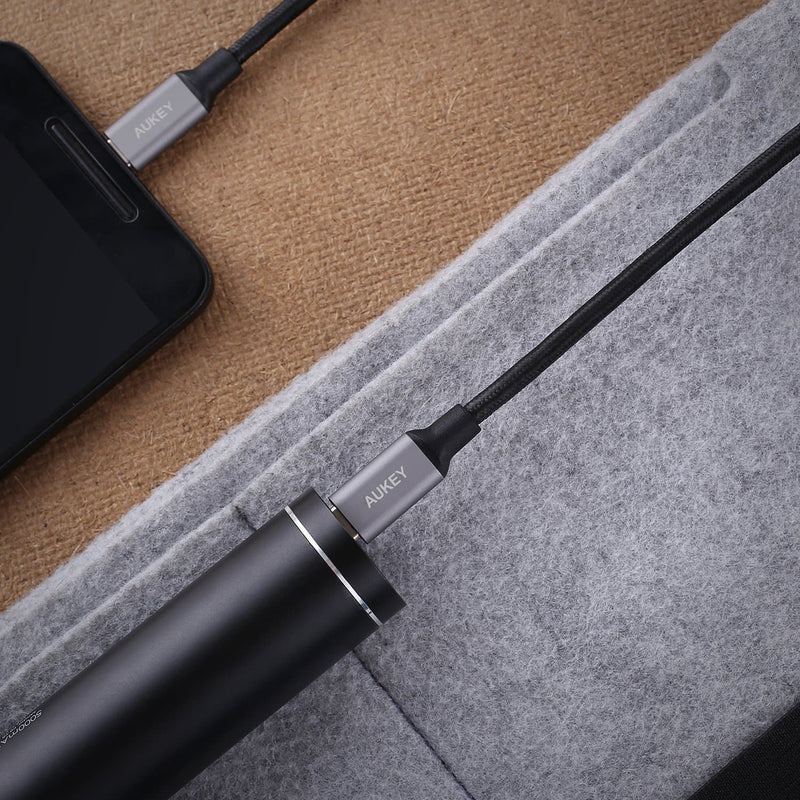 AUKEY CB-CD5 1M USB C To USB C Quick Charge 3.0 Durable Braided Nylon Cable - Aukey Malaysia Official Store