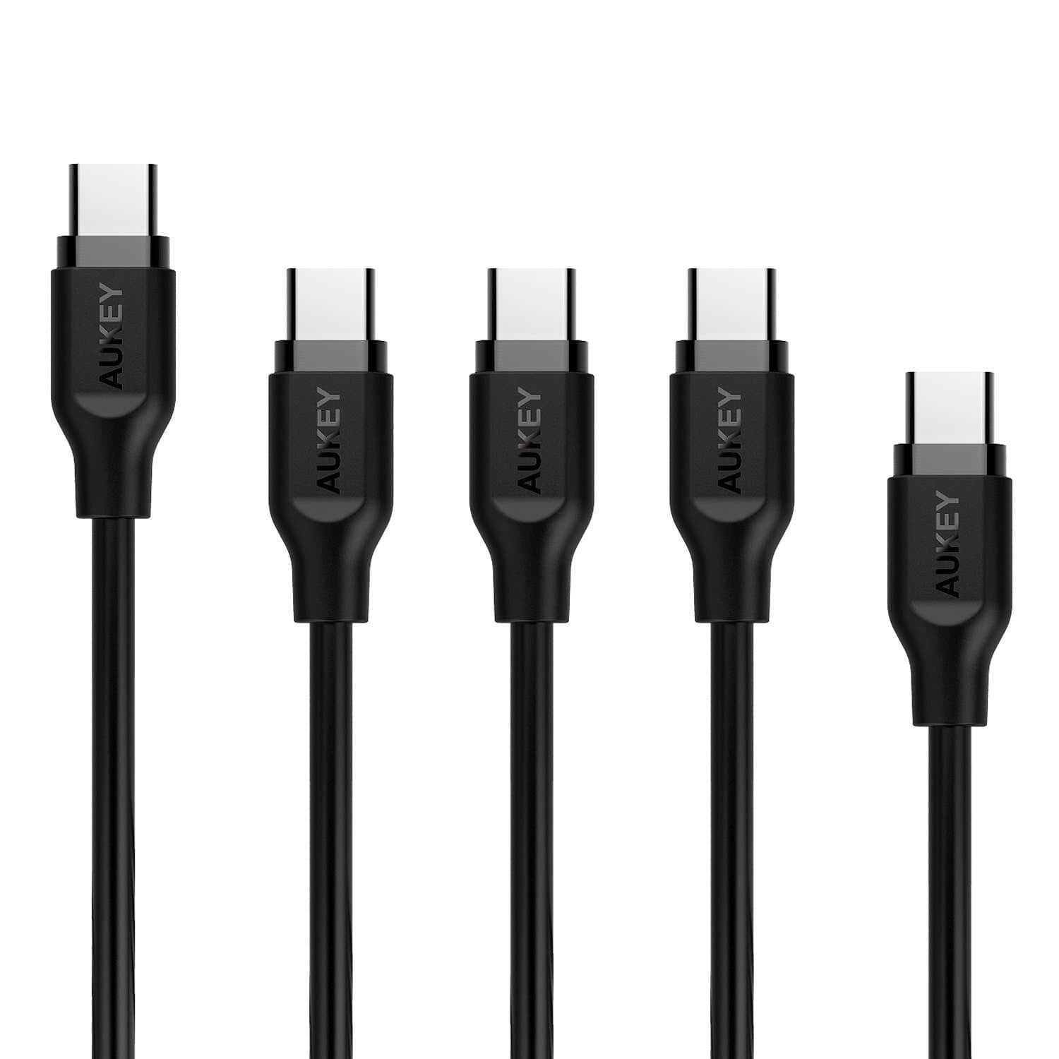 AUKEY CB-CMD5 - USB C Cable to USB 3.0 A 1m X 3 2m X 1 30cm X 1 (5 Pack) - Aukey Malaysia Official Store