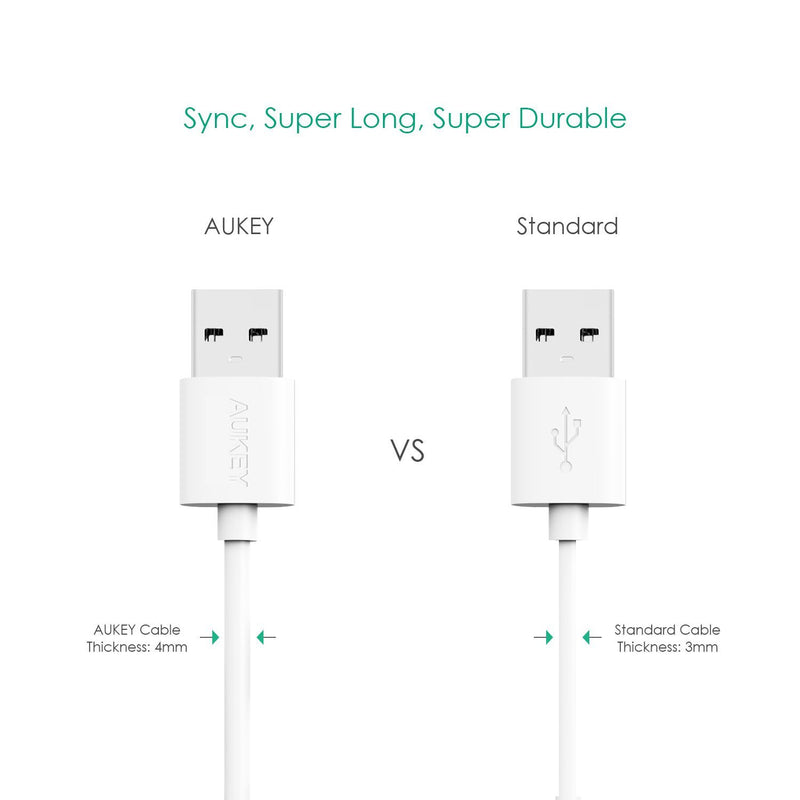 AUKEY CB-D10 20AWG QUalcomm Quick Charge 2.0/3.0 Micro USB Cable (3Pack) - Aukey Malaysia Official Store