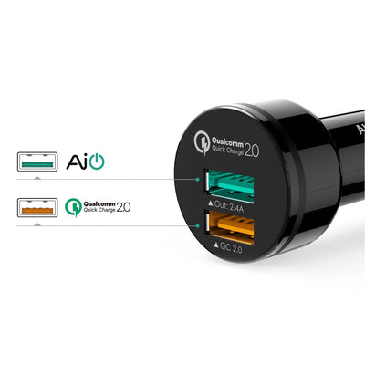 AUKEY CC-T1 Qualcomm Quick Charge 2.0 30W 2 Port USB Car Charger - Aukey Malaysia Official Store