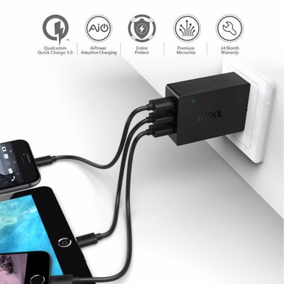 AUKEY PA-T14 3 Port USB Qualcomm Quick Charge 3.0 Travel Charger - Aukey Malaysia Official Store