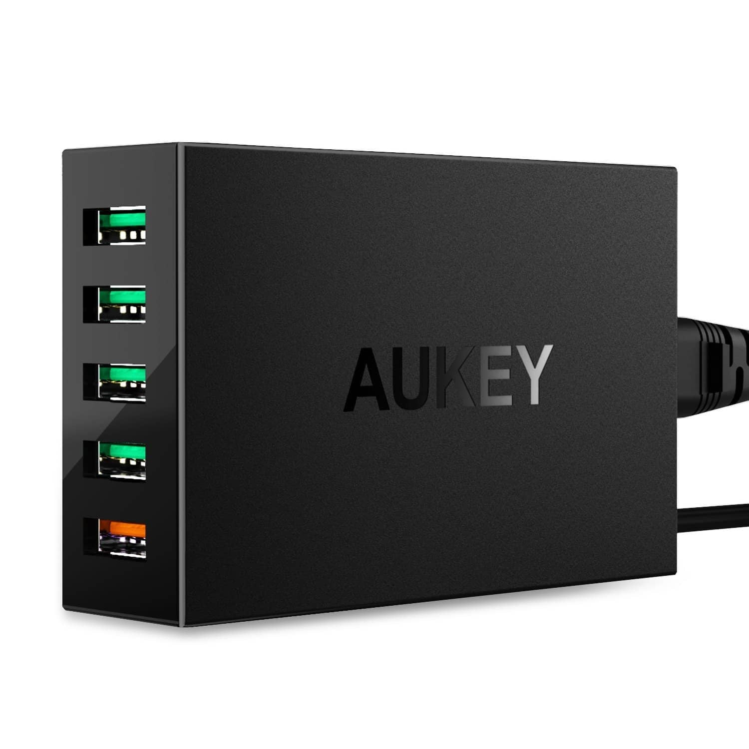 AUKEY PA-T15 54W 5 USB port Qualcomm Quick Charge 3.0 Desktop Charger - Aukey Malaysia Official Store