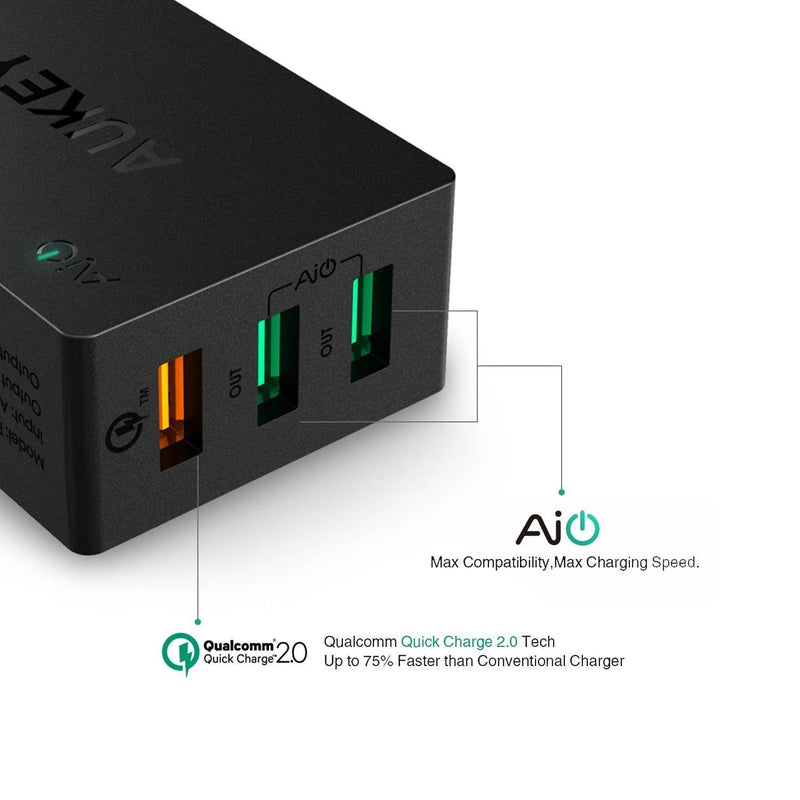 AUKEY PA-T2 42W 3 USB Ports Qualcomm Quick Charge 2.0 Charger - Aukey Malaysia Official Store