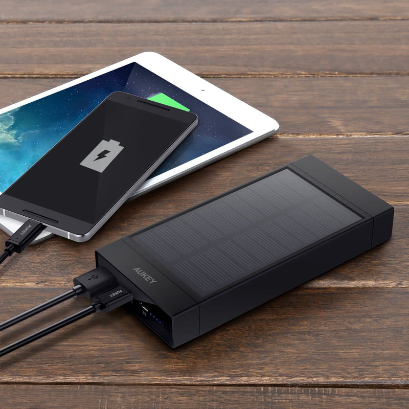 AUKEY PB-P23 16000mAh Qualcomm Quick Charge 3.0 Solar Power Bank USB C Output - Aukey Malaysia Official Store