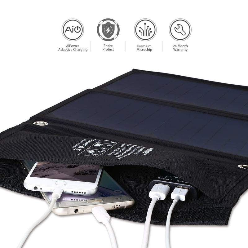 AUKEY PB-P3 14W Dual USB port Outdoor Solar Panel Charger - Aukey Malaysia Official Store