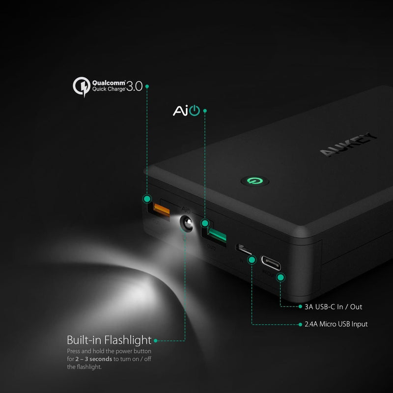 AUKEY PB-Y3 30000mAh Qualcomm Quick Charge 3.0 Power Bank With USB C Output - Aukey Malaysia Official Store