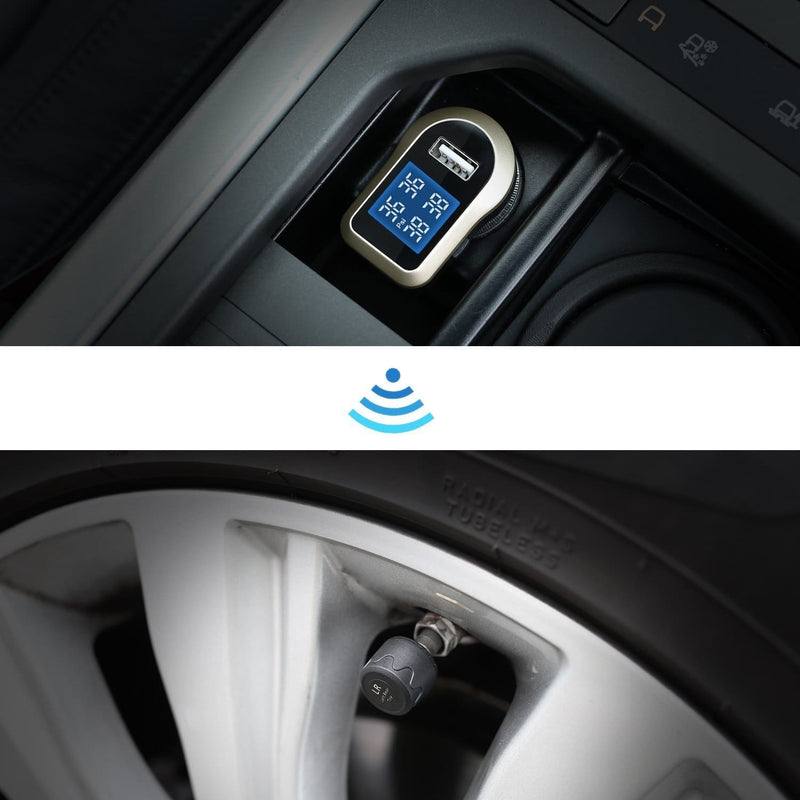 AUKEY TP-CO-001 TPMS Wireless Tyre Pressure Monitoring System with car charger - Aukey Malaysia Official Store