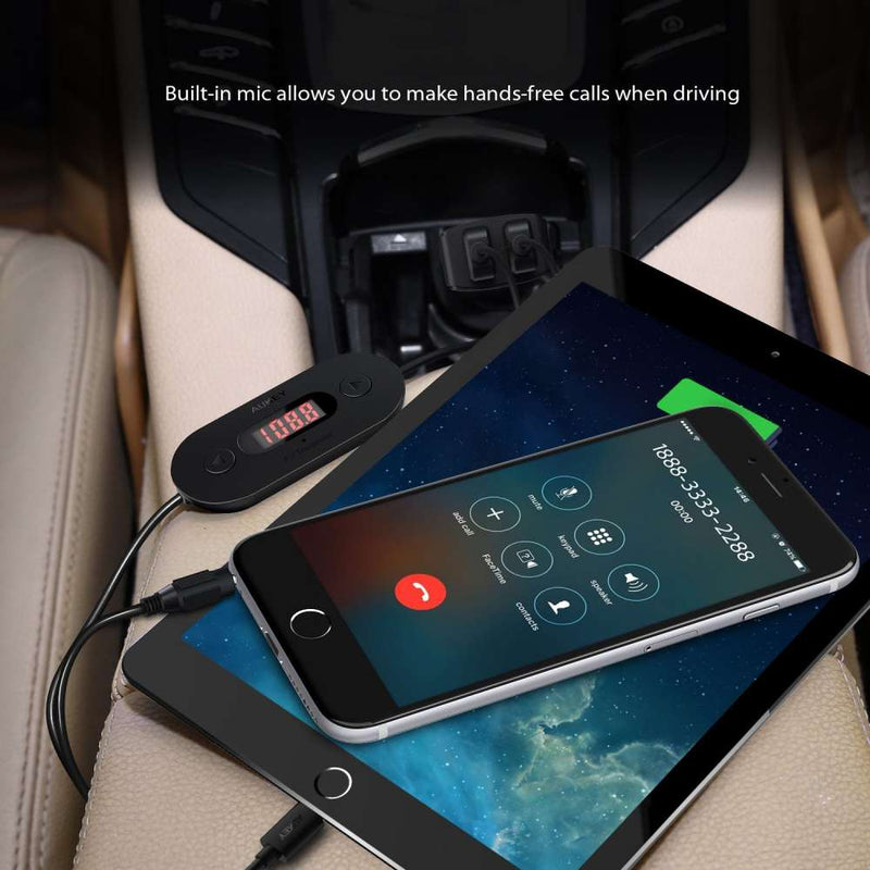 AUKEY BT-F2 In Car FM Transmitter Radio Adapter with Dual USB 4.8A Car Charger - Aukey Malaysia Official Store