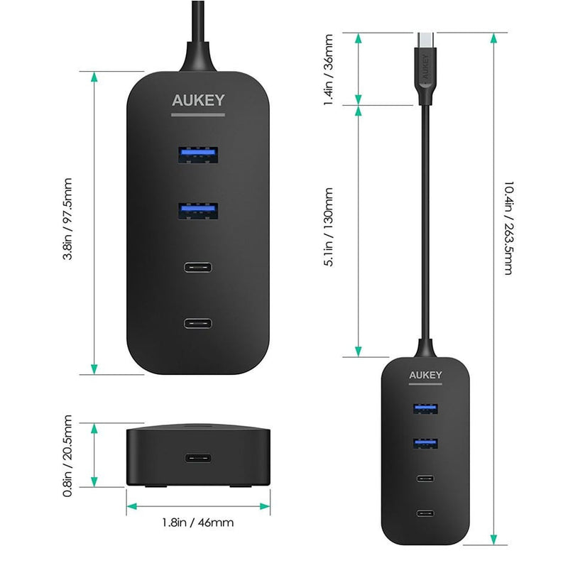 AUKEY CB-C48 USB C HUB Adapter ( 2 Port USB 3.0 + 2 Port USB C + 1 Port USB C with PD) - Aukey Malaysia Official Store