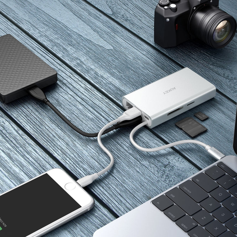 AUKEY CB-C55 8 in 1 USB-C Adapter With 4K HDMI,VGA,SD Card & Ethernet Port - Aukey Malaysia Official Store