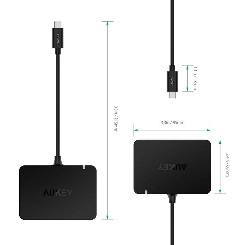AUKEY CB-C58 USB-C To 4-Port USB 3.0 Hub With 4K HDMI Port & USB-C Charging Port - Aukey Malaysia Official Store