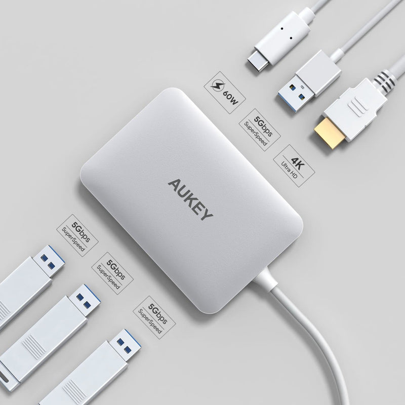 AUKEY CB-C60 6 In 1 USB Type C Hub USB 3.0 , HDMI Port 4K and 60W USB C PD Port - Aukey Malaysia Official Store