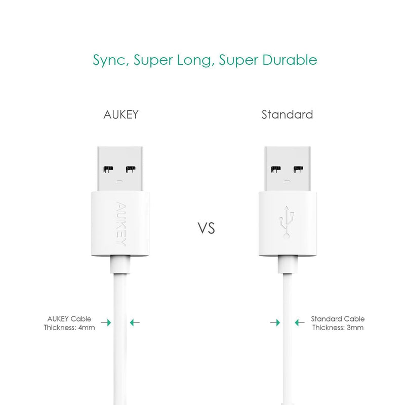 AUkey CB-D9 2 meter micro usb Cable white durable exlain