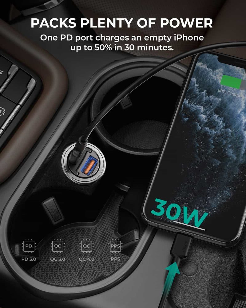 CC-A3 30W PD Metal Dual Port Fast Car Charger with PPS & QC 3.0