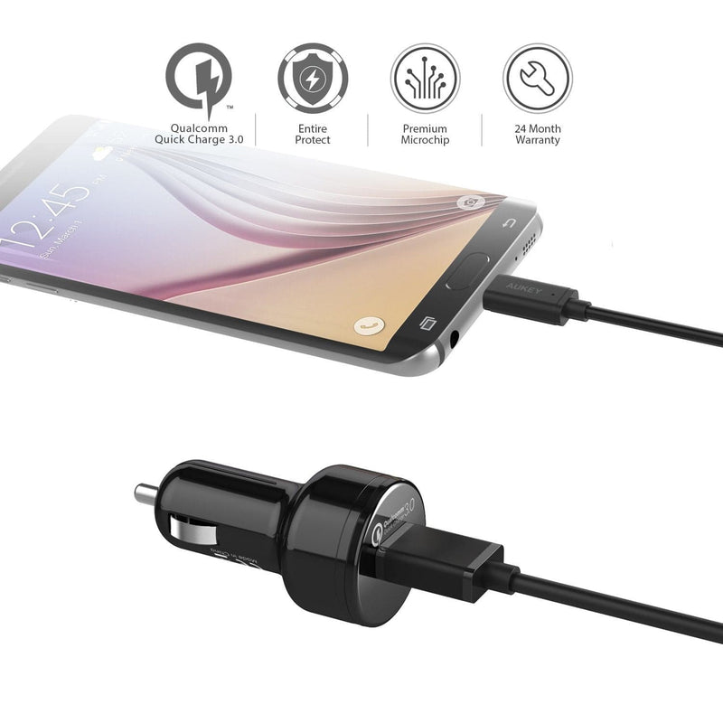 AUKEY CC-T12 24W Single Port Qualcomm Quick Charge 3.0 Car Charger - Aukey Malaysia Official Store