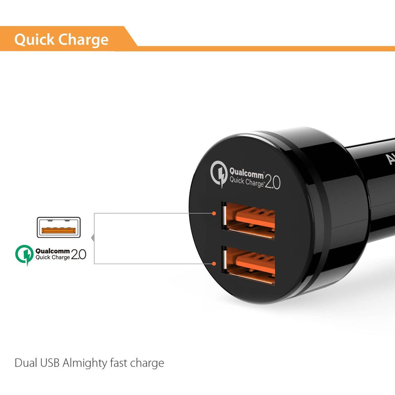 AUKEY CC-T6 36W Dual Ports USB Qualcomm Quick Charge 2.0 Car Charger - Aukey Malaysia Official Store