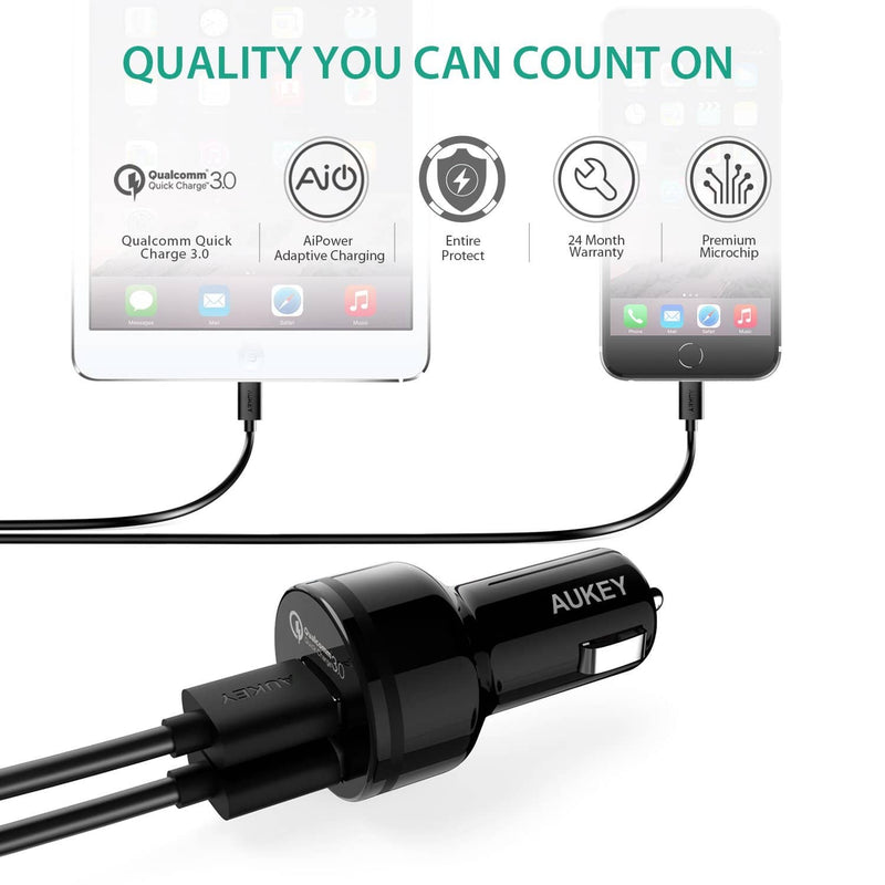 AUKEY CC-T7 36W Quick Charge 3.0 Car Charger + CB-A2 USB C To Micro USB Converter - Aukey Malaysia Official Store