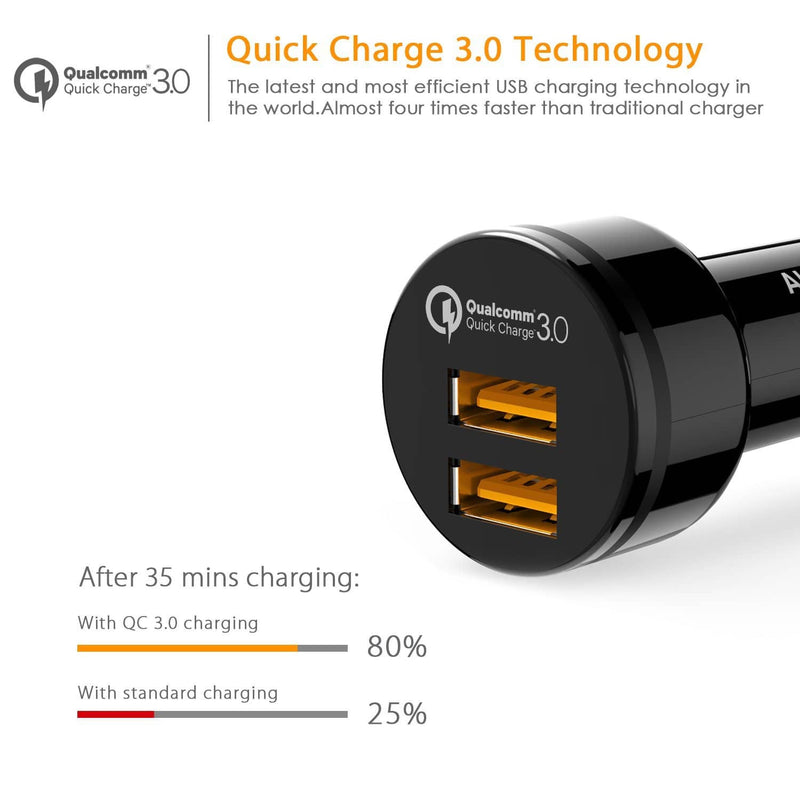 AUKEY CC-T8 36W Dual Port Qualcomm Quick Charge 3.0 Car Charger - Aukey Malaysia Official Store