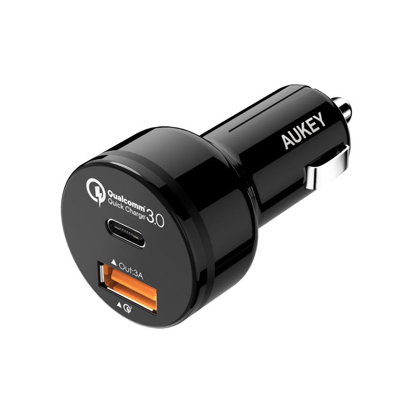 AUKEY CC-Y1 33W USB C & Qualcomm Quick Charge 3.0 Car Charger - Aukey Malaysia Official Store