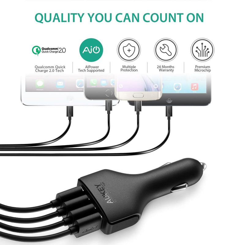 AUKEY CC-T4 54W 4 Port Usb Qualcomm Quick Charge 2.0 Car Charger - Aukey Malaysia Official Store