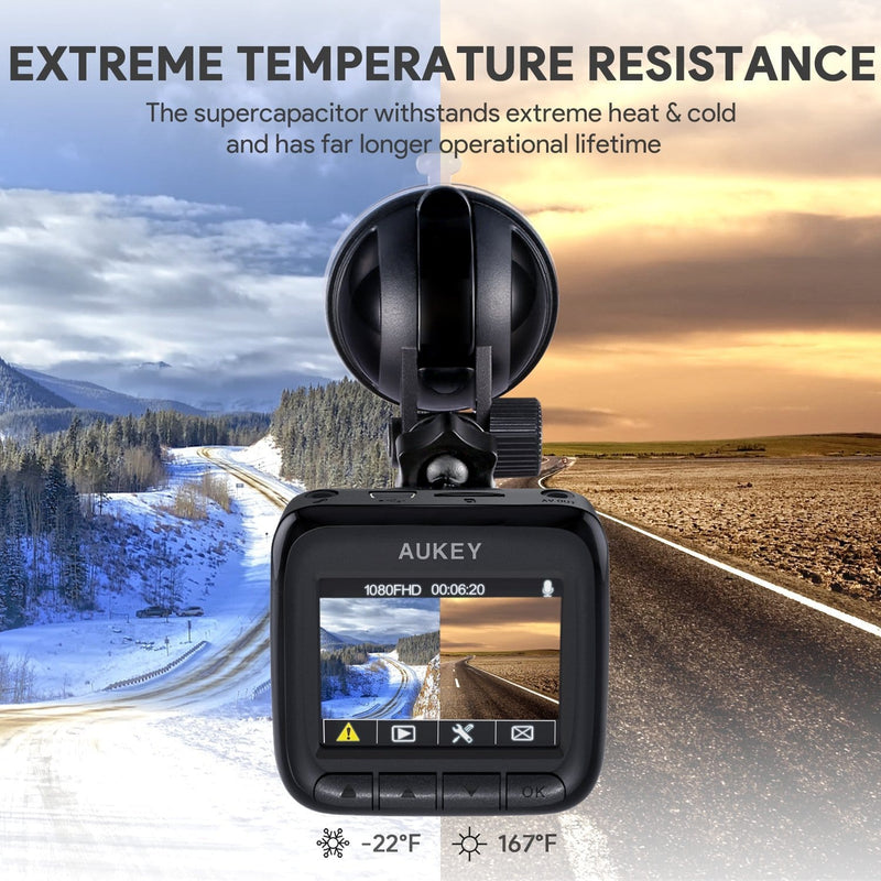 Aukey DR01 Full HD Car Camera Recorder  with extreme temperature resistance