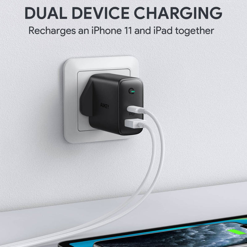PA-D1 Focus Duo 30W Power Delivery Dual-Port PD Charger with Dynamic Detect