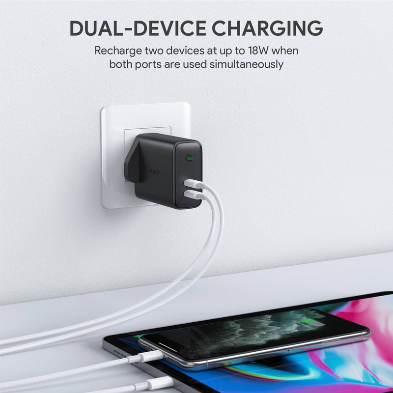 PA-D2 Focus Duo 36W Power Delivery  Dual-Port PD USB C Charger with Dynamic Detect