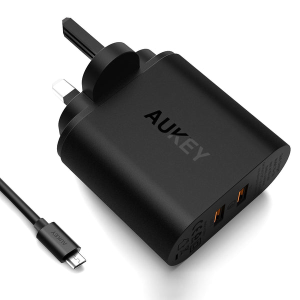 AUKEY PA-T16 Dual USB Qualcomm Quick Charge 3.0 Charger (UK Plug) - Aukey Malaysia Official Store