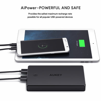 AUKEY PB-N36 V2 3.4A Dual Turbo Recharge AiPower 20000mAh Power Bank - Aukey Malaysia Official Store