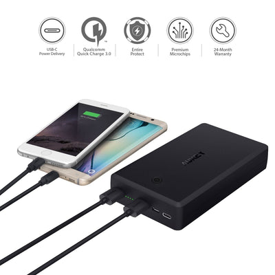 PB-Y7 V2 30000mAh Qualcomm Quick Charge 3.0 Power Bank USB C Power Delivery PD 2.0 - Aukey Malaysia Official Store
