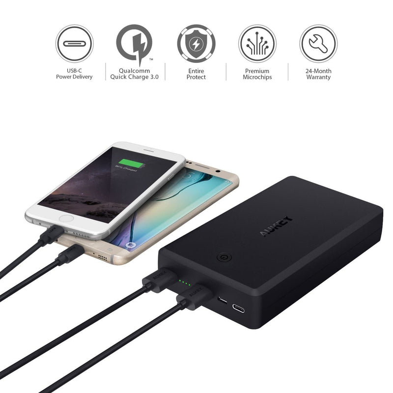 AUKEY PB-Y7 V2 30000mAh Qualcomm Quick Charge 3.0 Power Bank USB C Power Delivery PD 2.0 - Aukey Malaysia Official Store