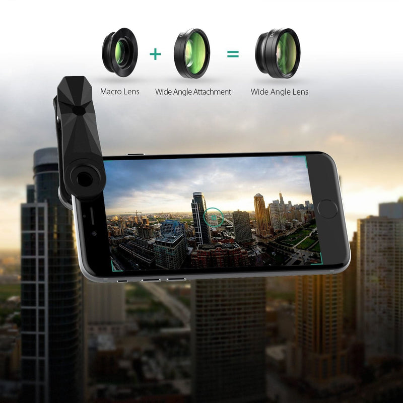 AUKEY PL-A6 Optic Pro 180° Fisheye + 110° Wide Angle + 10x Macro Mini Clip-on Lens - Aukey Malaysia Official Store