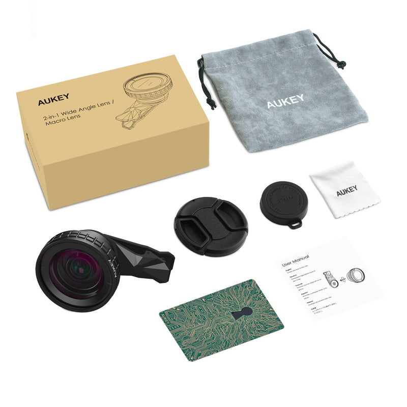 AUKEY PL-WD07 Ora 0.45x 140° Wide Angle + 10x Macro Clip-on Camera Lenses Kit - Aukey Malaysia Official Store