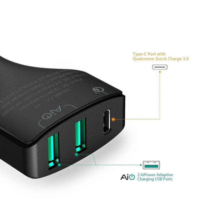 AUKEY CC-Y3 49.5W 10A AiPOWER Quick Charge 3.0 USB C Car Charger - Aukey Malaysia Official Store
