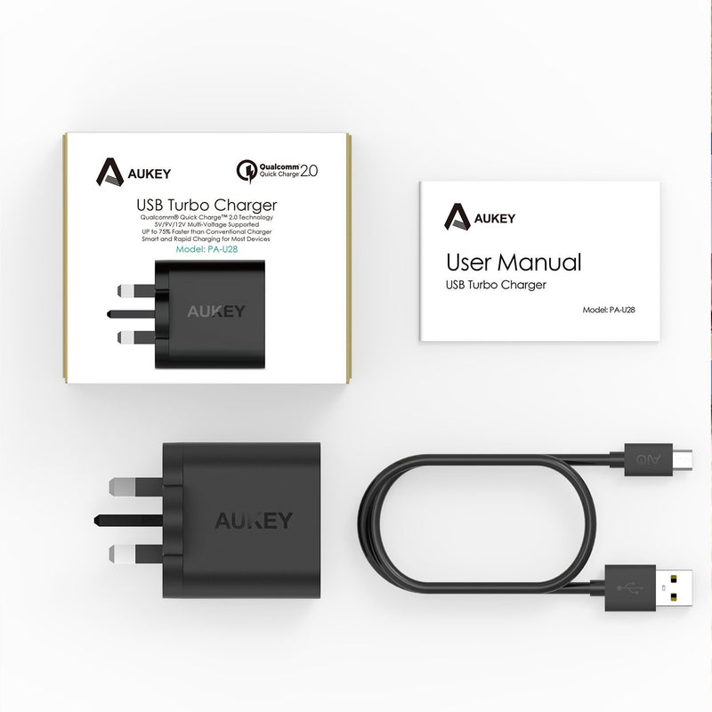 AUKEY PA-U28 Qualcomm Quick Charge 2.0 Wall Charger (UK PLUG) - Aukey Malaysia Official Store