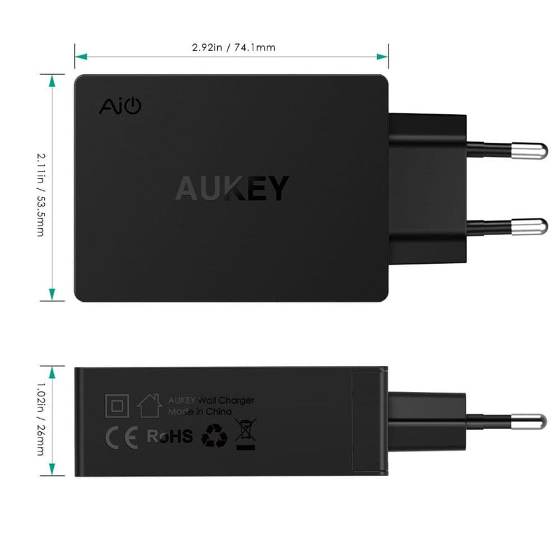 AUKEY PA-Y4 42W Qualcomm Quick Charge 3.0 3 USB C Travel Charger - Aukey Malaysia Official Store