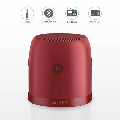 Aukey SK-M31 Wireless Mini Bluetooth Speaker with Enhanced Bass - Red